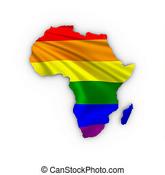 Africa map showing a rainbow flag