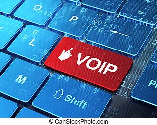 Web design concept: Mouse Cursor and VOIP on computer keyboard background