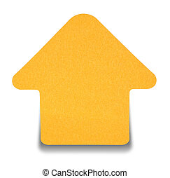 Orange sticky note isolated on white background, with shadow...