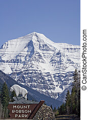 View of Mountain Robson Park Sign and Mount Robson