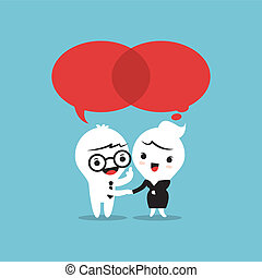 Two People Talking speech bubbles - Two People Talking with...