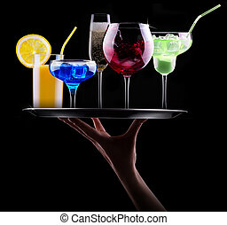 different alcohol drinks set on a tray - beer, wine,...