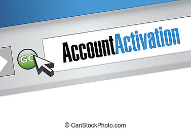 account activation message on a search bar illustration...