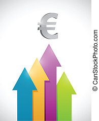 euro colorful business graph moving up illustration design...