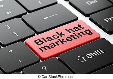 Finance concept: Black Hat Marketing on computer keyboard...