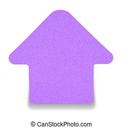 Violet sticky note isolated on white background, with shadow...
