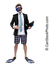 Businessman in fins and goggles hands folder
