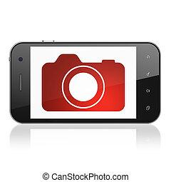 Tourism concept: Photo Camera on smartphone - Tourism...