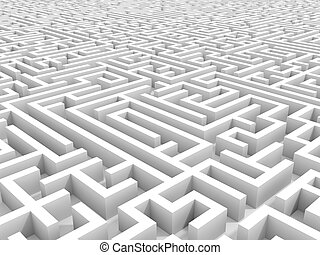 White endless maze. 3D illustration.