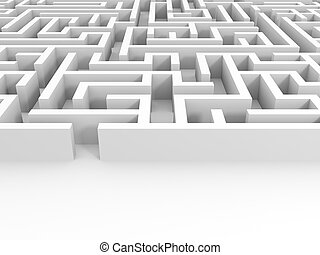 Entrance into the maze. - Entrance into the white maze. 3D...