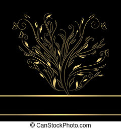 Gold vintage greeting card vector