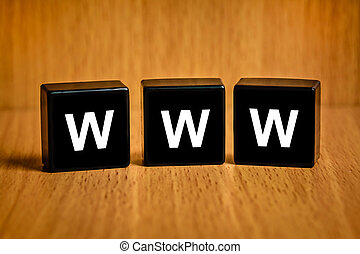 www or world wide web text on block - www or world wide web...