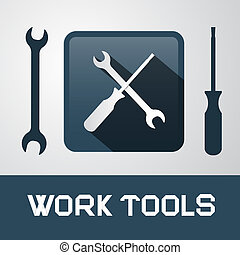 Spanner and Screwdriver Icons - Work Tools