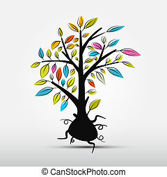 Abstract Tree Vector Illustration Isolated on Grey Background