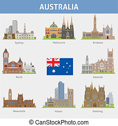 Australia. Symbols of cities. Vector set