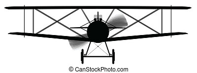 Biplane Silhouette - A WWI RFC fighter plane in silhouette