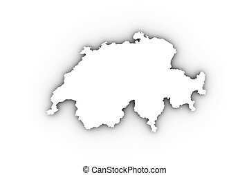Switzerland map in white and including a clipping path. High...