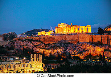 Acropolis in the evening after sunset - Acropolis in Athens,...