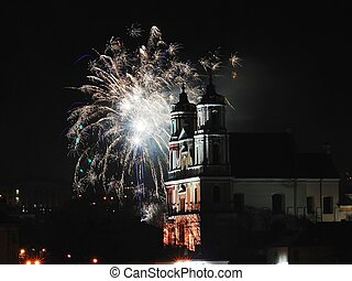 The fireworks and light in Vilnius - Lithuania Capital...