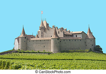 Isolated Aigle Castle, Switzerland - A view of the Aigle...
