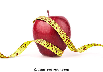 Red apple with yellow measuring tape