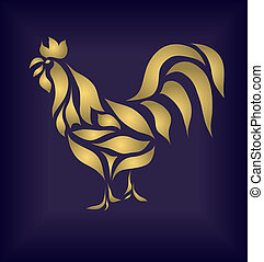 Gold cock on blue background vector