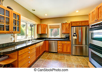 Modern kitchen room interior - Spacious kitchen room with...