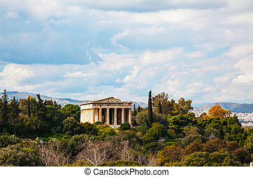Temple of Hephaestus in Athens, Greece on an overcast day