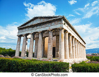 Temple of Hephaestus in Athens, Greece on a sunny day
