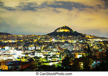 Overview of Athens in the night - Overview of Athens, Greece...