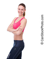 Athletic young woman smiling - Portrait of an athletic young...