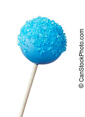 Cake pop - Blue cake pop isolated against white