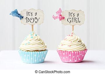 bebê, Chuveiro, Cupcakes