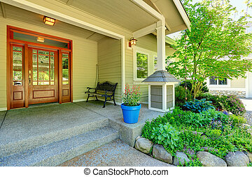 Nice porch with antique bench - View of porch with entrance...