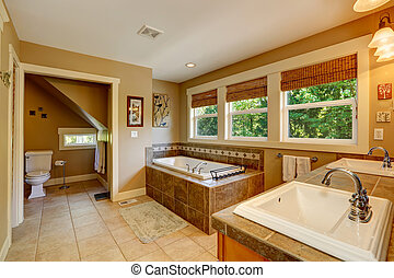 Beautirul bathroom with windows - Bathroom with ceramic...