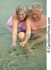 Elderly couple feeding fish - Happy elderly couple feeding...
