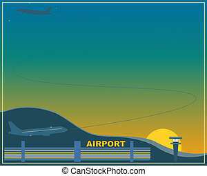 Airport at sunset.