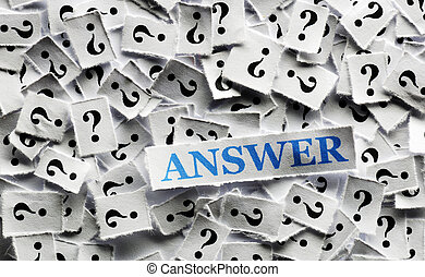 question answer - answer of question marks on white papers...