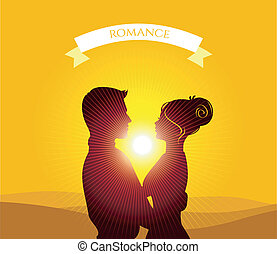 Kissing couple - Vector illustration eps 10 of Kissing...