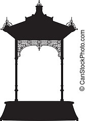 Shadow small kiosk - Vector illustration of an element of...
