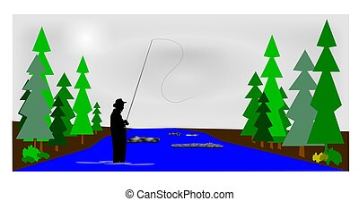 early morning fly fishing  - fly fishing concept