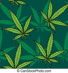 Hemp Seamless Pattern - Seamless hand drawn hemp pattern No...