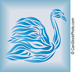 Blue swan on background vector
