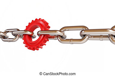 chain links machine gear on a white background