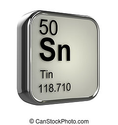3d Tin element - 3d render of tin element design