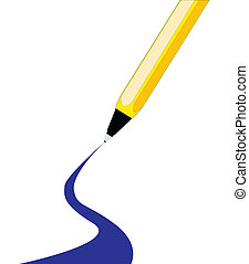 Ball Point - A blue ink ball point pen with a curbed line...