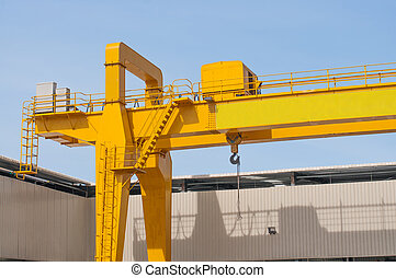 Yellow overhead crane for factory