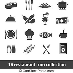 restaurant icons - 16 restaurant icon collection