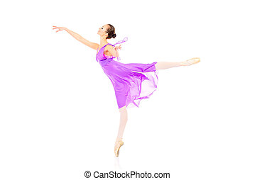 flying pose - Beautiful elegant bellet dancer dancing at...