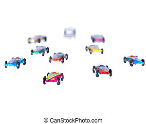 Conceptual pink tin car leads the pack